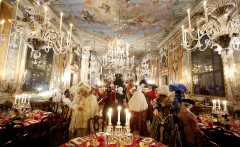 "Guests arrive in their costumes for the ""Ballo Tiepolo,"" put on by the Carnivale event company C.C.I. in Palazzo Pisani Moretta in Venice."