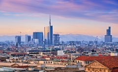 "View of Milan`s  business district from ""Duomo di Milano""."