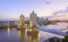 River Thames and Tower Bridge at Dusk, London, England